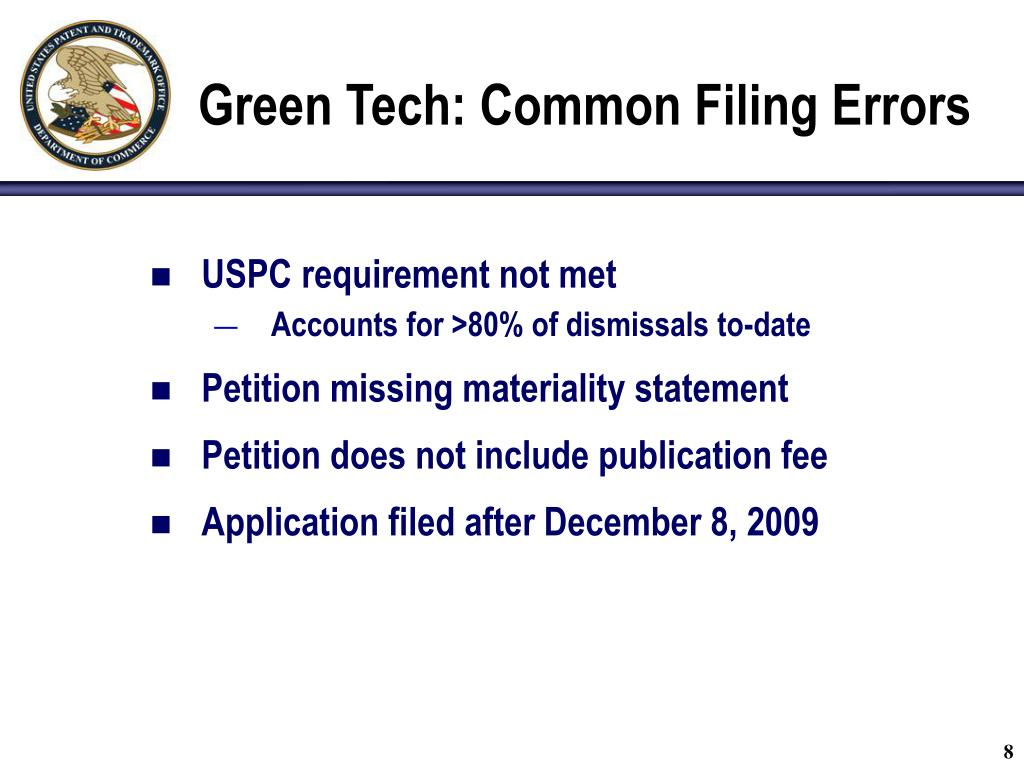 Green Tech: Common Filing Errors