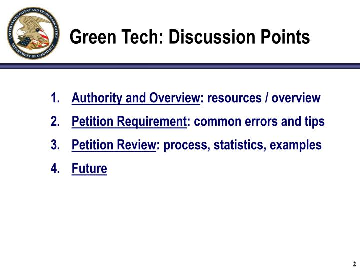 Green tech discussion points