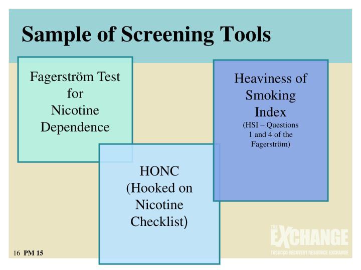 Sample of Screening Tools