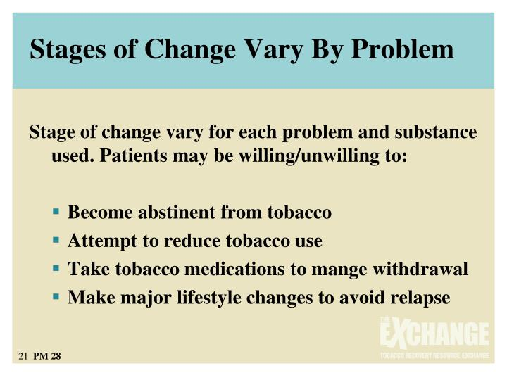 Stages of Change Vary By Problem