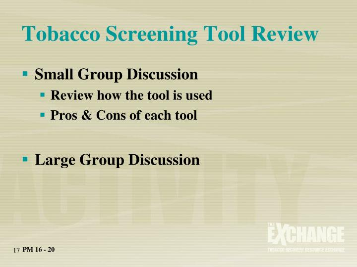 Tobacco Screening Tool Review