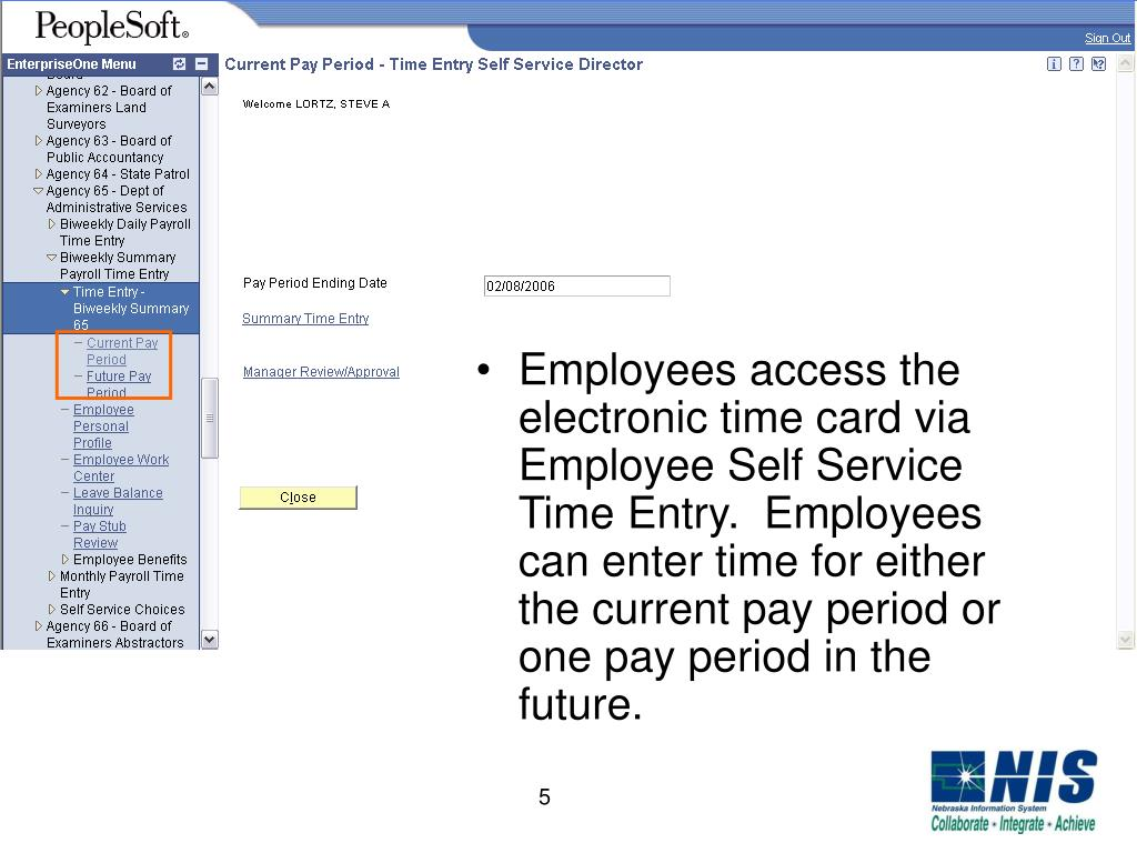 PPT - NIS Employee Self Service Time Entry PowerPoint