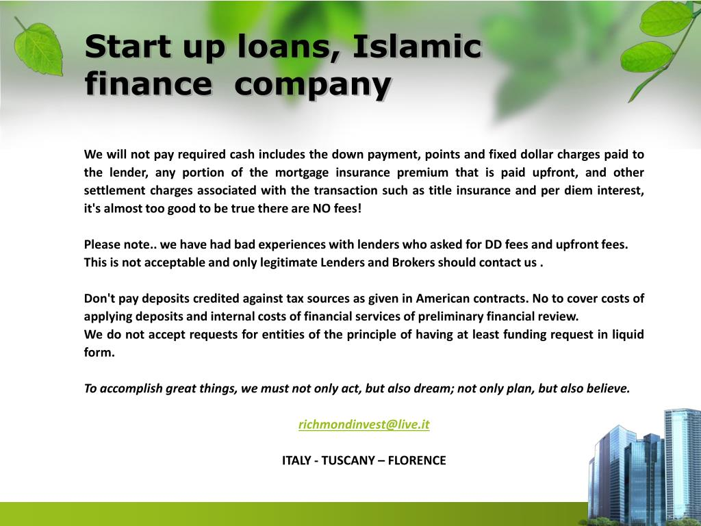 Start up loans, Islamic  finance  company