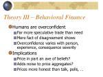 theory iii behavioral finance