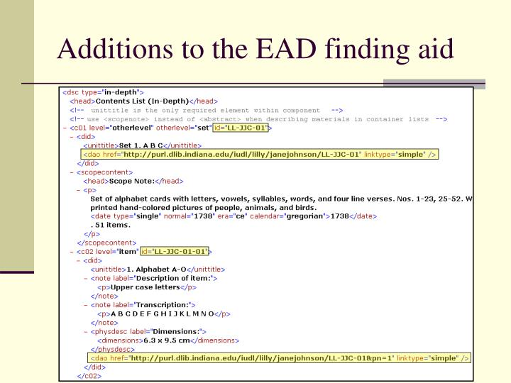 Additions to the EAD finding aid