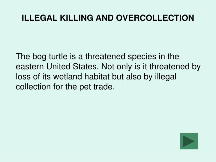 ILLEGAL KILLING AND OVERCOLLECTION