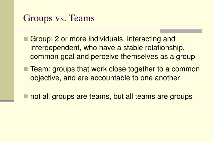 Groups vs. Teams