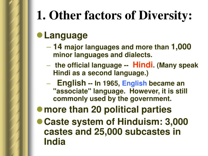 1. Other factors of Diversity: