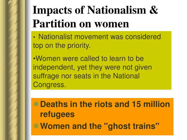 Impacts of Nationalism & Partition on women