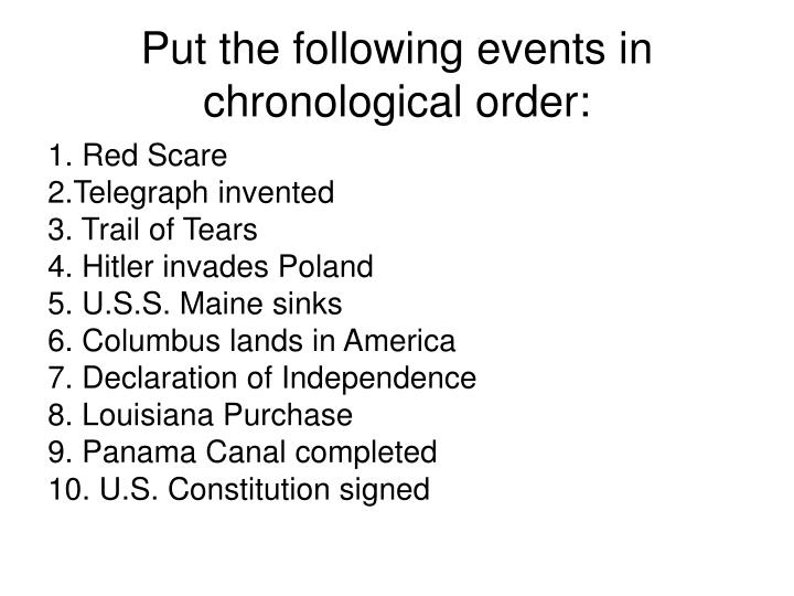 Put the following events in chronological order