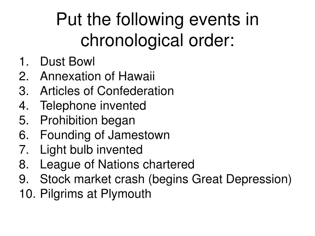 Put the following events in chronological order: