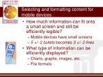 selecting and formatting content for mobile devices