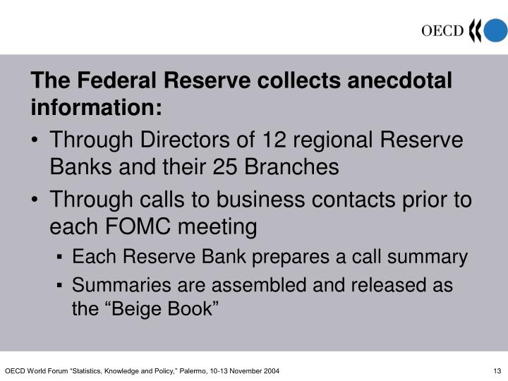 The Federal Reserve collects anecdotal