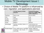 mobile tv development issue i technology