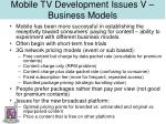 mobile tv development issues v business models