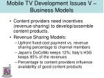 mobile tv development issues v business models31