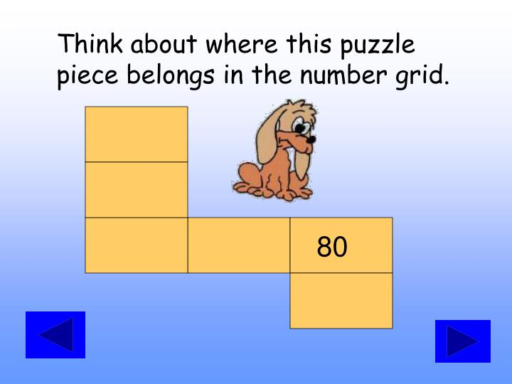 Think about where this puzzle piece belongs in the number grid.