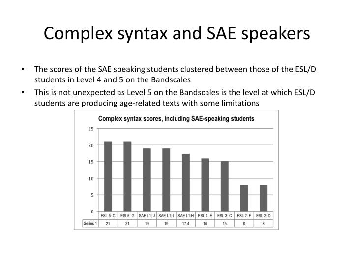 Complex syntax and SAE speakers