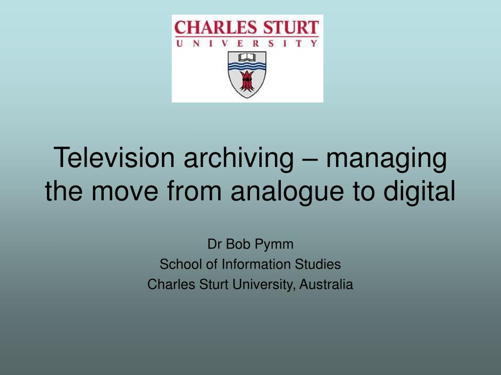dr bob pymm school of information studies charles sturt university australia l.