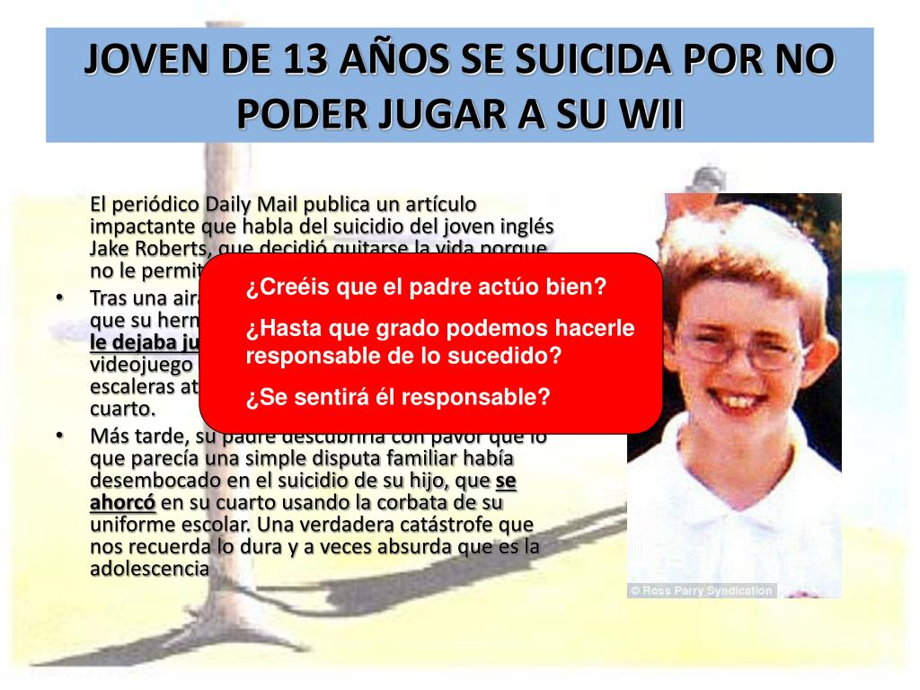JOVEN DE 13 AÑOS SE SUICIDA POR NO PODER JUGAR A SU WII