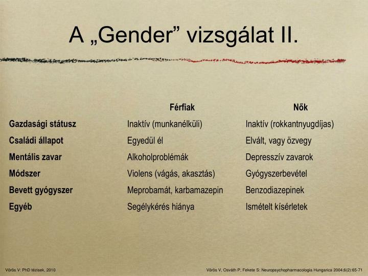 """A """"Gender"""" vizsgálat II."""