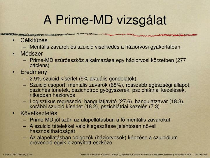 A Prime-MD vizsgálat