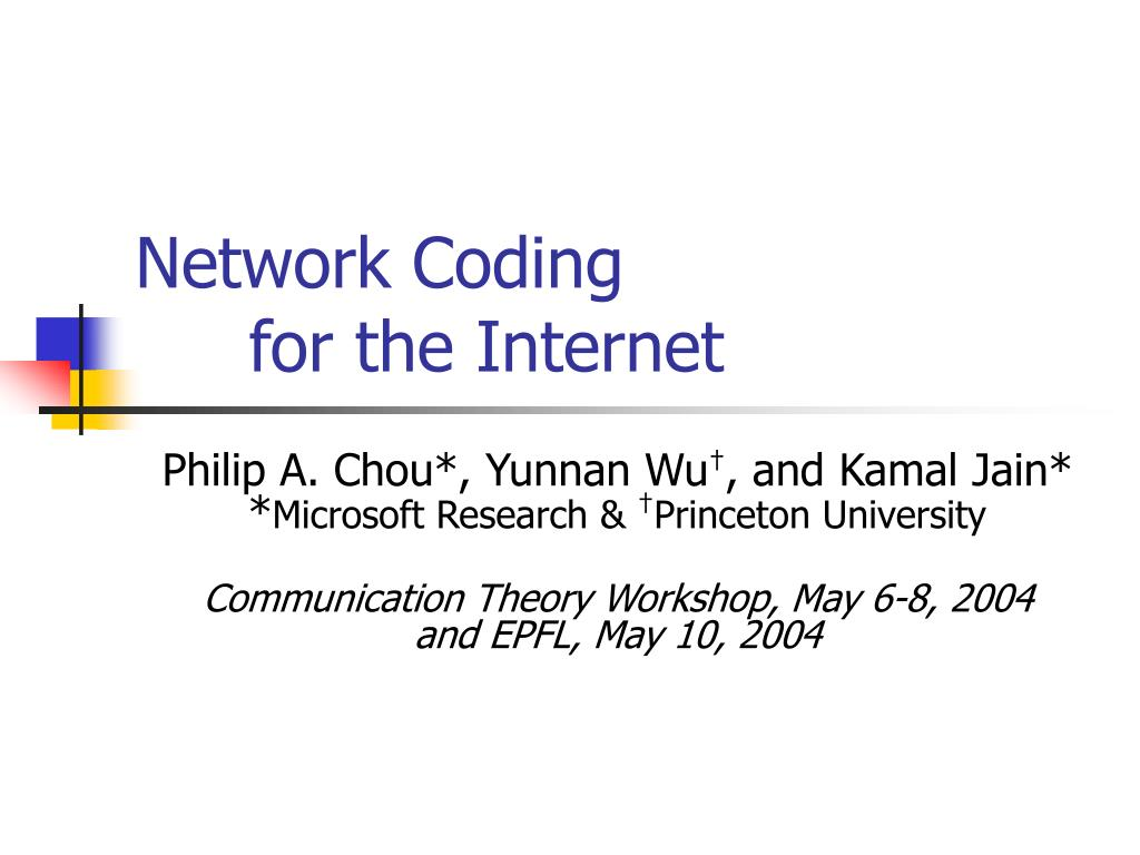 network coding for the internet l.