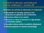 control of obscene and indecent articles ordinance section 10