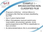 example 1 broadcasting non classified film