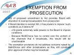 exemption from prosecution