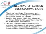 negative effects on bill s legitimate aims