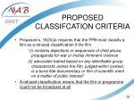 proposed classifcation criteria