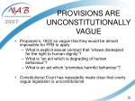 provisions are unconstitutionally vague