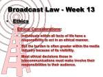 broadcast law week 133