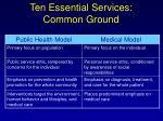 ten essential services common ground