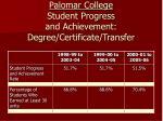 palomar college student progress and achievement degree certificate transfer