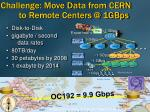 challenge move da ta from cern to remote centers @ 1gbps