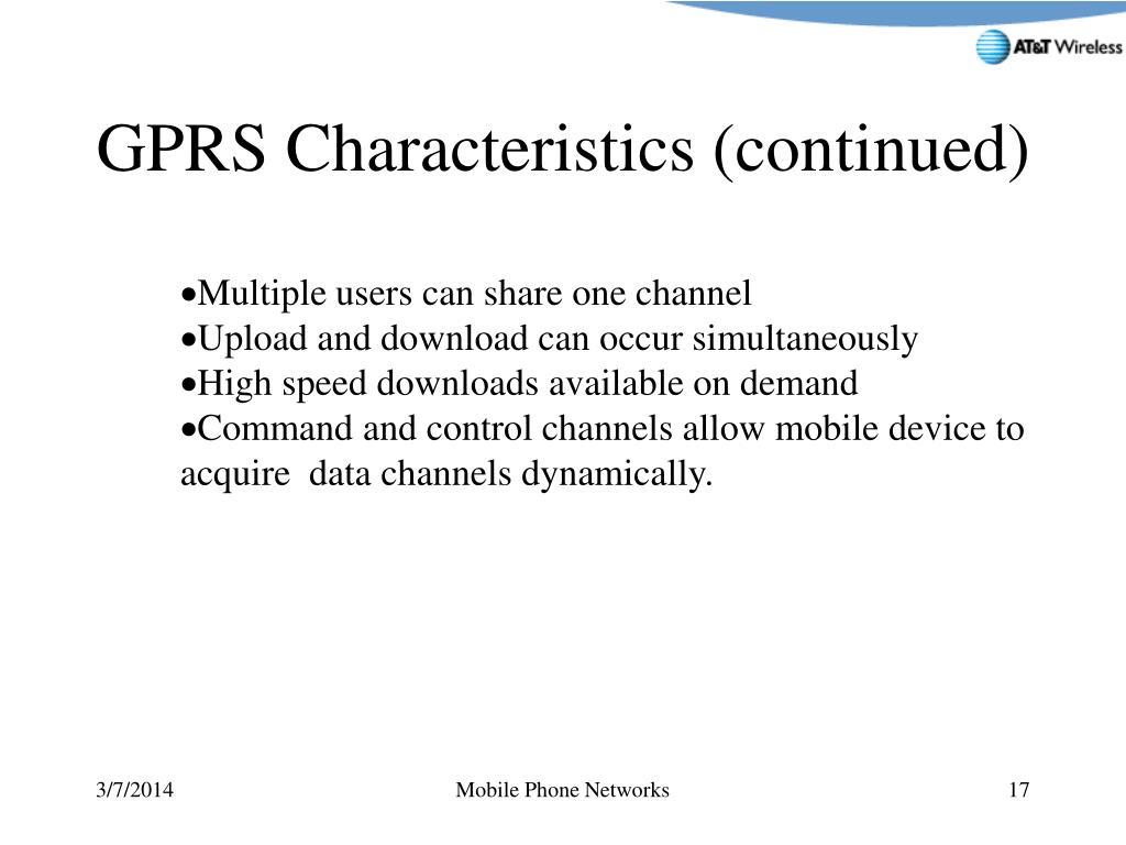 GPRS Characteristics (continued)