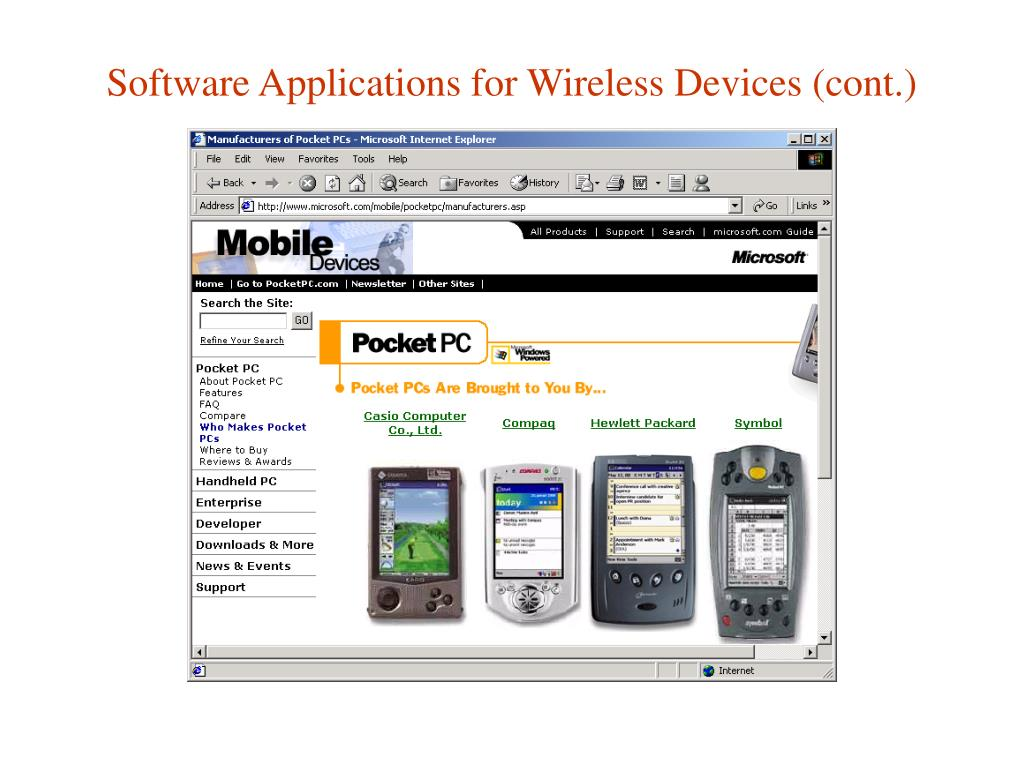 Software Applications for Wireless Devices (cont.)