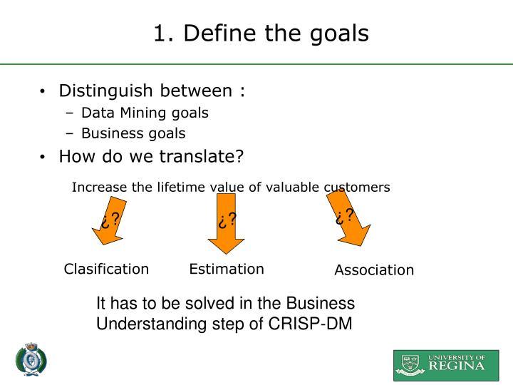 1. Define the goals