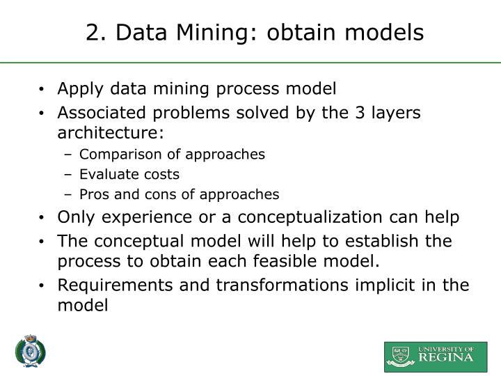 2. Data Mining: obtain models