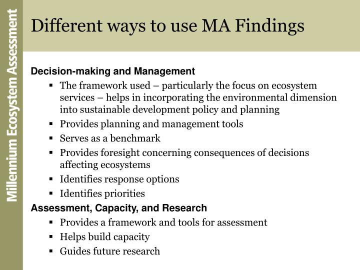 Different ways to use MA Findings