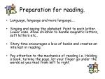 preparation for reading