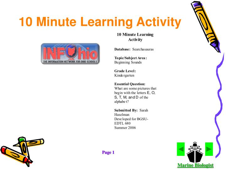10 Minute Learning Activity