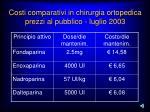 costi comparativi in chirurgia ortopedica prezzi al pubblico luglio 2003