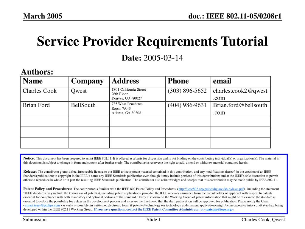 service provider requirements tutorial l.