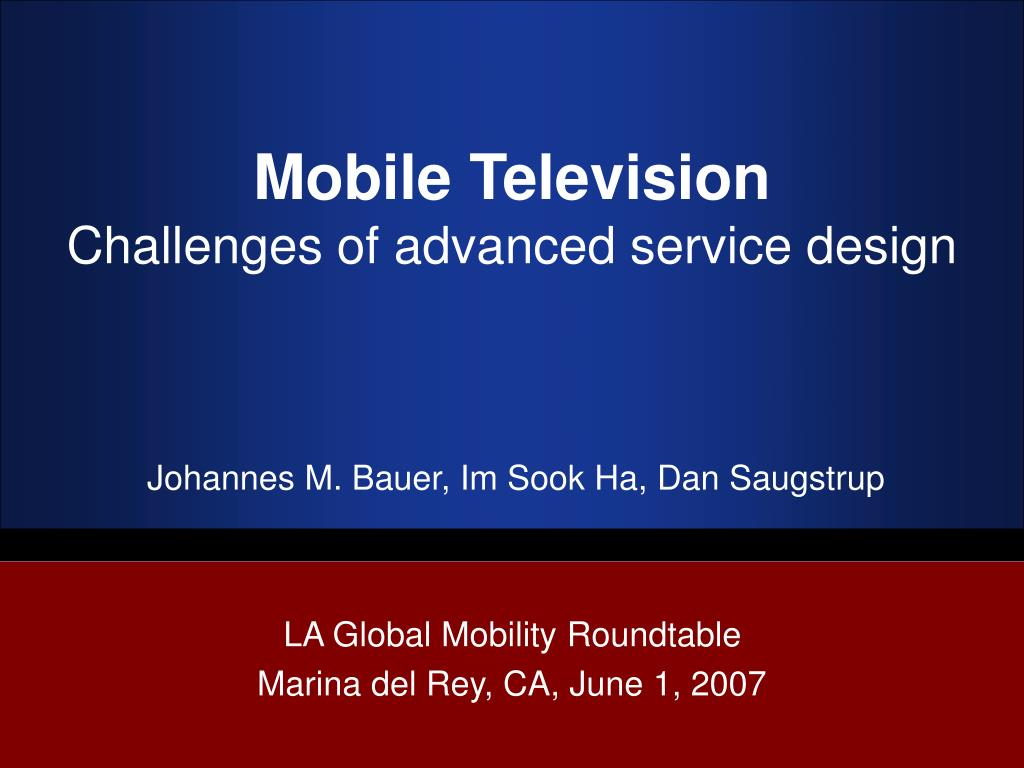 mobile television challenges of advanced service design l.
