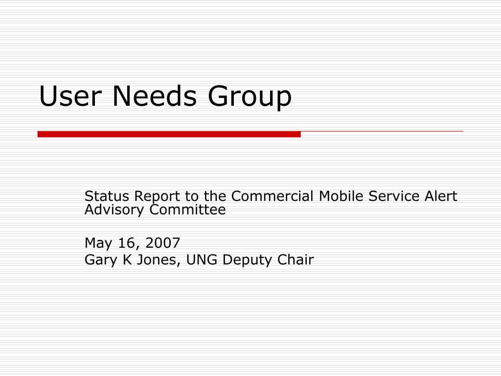user needs group l.