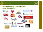 sponsorship candidates partial list