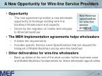 a new opportunity for wire line service providers